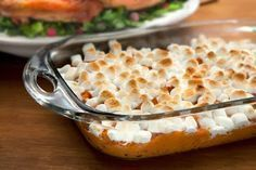 Sweet potato (yam) casserole -- sweet side for Thanksgiving! 1 (40 oz) can of Bruce's cut yams, drained ½ cup brown sugar ½ teaspoon cinnamon ¼ teaspoon salt 1 egg, beaten 4 tablespoons melted butter 1 (16 oz) bag of miniature marshmallows