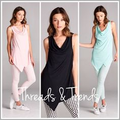 Drape Cowl Neck Tunic Tops The perfect sleeveless top to pair with leggings. Featuring a drape front cowl neck design. Make of rayon and spandex. Colors mint, pink and black. Leggings sold separately.  Bundle a set and save. Size S, M, L, XL Tops