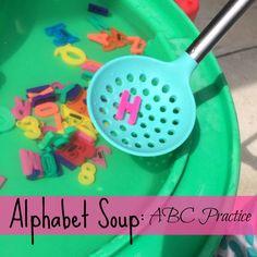 Qué diferencien y cojan letras sólo. QAlphabet Soup: ABC Practice #earlylearning #alphabet #playmatters | mybigfathappylife.com