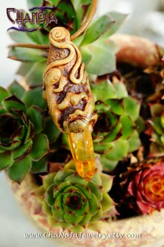 Lizard Love Crystal Pendant-orange mystic by ChaNoJaJewelry