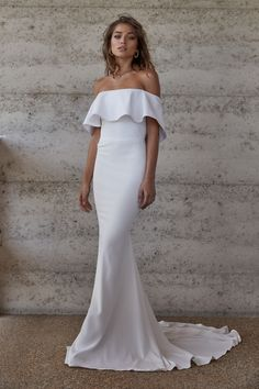 modern off-shoulder wedding dress by CHOSEN