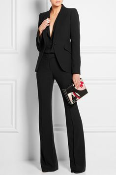 ALEXANDER MCQUEEN High-rise crepe flared pants $875 Tailored to create the illusion of a longer legs, Alexander McQueen's crepe pants have a flattering high-rise and flare out just above the knee. They're finished with crisply pressed creases and discreet pockets. Streamline your look with a coordinating blazer.