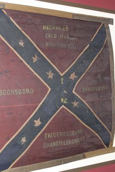 Battle Flag of the 2nd North Carolina Infantry Regiment.  The Regiment was with Rodes' Divivsion at Gettysburg when it moved into town on the first day, July 1, 1863.  After fighting on Oak Hill it engaged a rear guard Pennsylvania regiment while the Federals were retreating through town and it's flag was captured in heavy fighting in the town.