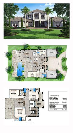 Coastal House Plan 52910 | Total Living Area: 5403 sq. ft, 5 bedrooms, 5 full bathrooms and 2 half baths. #coastalhome