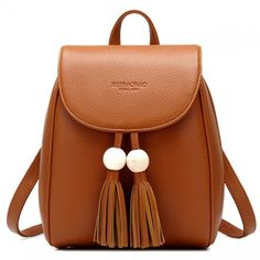 Cool! Leisure School Backpack Fashion PU Women Travel Tassels Bead Rucksack just $33.99 from ByGoods.com! I can't wait to get it!