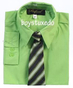 Boy's Formal Lime Apple Green Solid Long Sleeve Dress Shirt With Tie Sizes 2T-20 #DressyHoliday