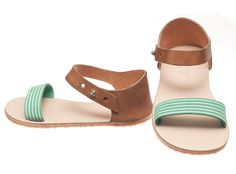 BRIKA.com | Honey Leather + Jade Suede Ani Sandal
