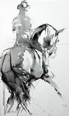 Power Flow II - Half Pass by Sally Martin Mixed Media ~ x - Bilder - Pferde Horse Drawings, Animal Drawings, Art Drawings, Watercolor Horse, Watercolor Paintings, Pastel Paintings, Academic Drawing, Horse Artwork, Horse Paintings
