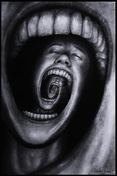 """""This is another paradox that I've been working on for a couple of days. It describes a person with psychological problems such as schizophrenia, insanity, depression or other mental problems. His endless screaming makes his own mind eat him up. I have periods in my life where I feel like this. I wanted to make an illustration of my thoughts and my pain within."" - Sebastian Eriksson"