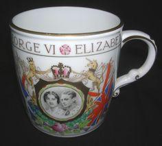 "Rare Bone China mug "" Coronation King George VI. 1937 "" Foley"