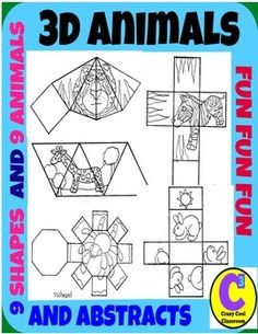 I MADE THESE FOR MY STUDENTS BECAUSE THEY WERE BOTHERING ME ABOUT MAKING THEM. THESE ARE ANIMAL AND ABSTRACT 3D SHAPES. 2 DIFFERENT SIZES - mini size (when folded about 2 inches big) and a full page size of each. This packet includes 9 shapes. Please see preview for more details.