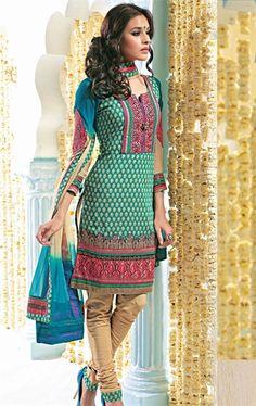 Royal Blue and Base Color Designer Indian Salwar Salwar Kameez Set INHSPRIN2106 - www.indianwardrobe.com