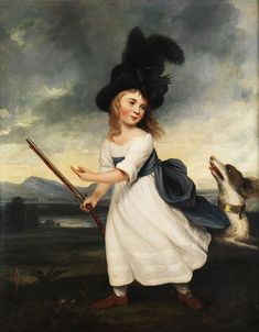 Late 1700s Unknown artist, Girl with a Gun and a Hound