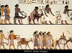 BENI HASAN (EGYPT) WALL PAINTING DEPICTING A GROUP OF SEMITIC PEOPLE, POSSIBLY CANAANITE MERCHANTS, ON THE WAY TO EGYPT, C. 190 Stock Photo,  This is a modern painting of a tomb mural deceitfully altering the ethnicity of the Hebrews to suit a European racial bias.