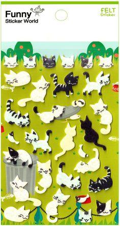 Funny Sticker World Alley Cats Felt Sticker Sheet