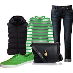 """green stripes"" by tanya-misener on Polyvore"