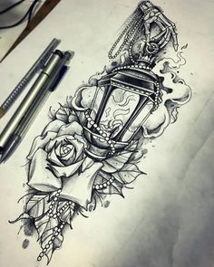 Rose-Flowers-And-Lamp-Tattoo-Design-Idea.jpg (500×625)