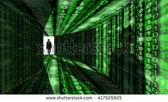 A silhouette of a hacker with a black hat in a suit enters a hallway with walls…