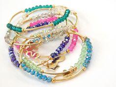 Pulsera semanario 7 pulseras de cristal checo 4 mm, para niña modelo B, $110, Precio especial a mayoristas Simple Bracelets, Cute Bracelets, Gemstone Bracelets, Simple Jewelry, Handmade Bracelets, Jewelry Bracelets, Jewelery, Handmade Jewelry, Stretch Bracelets