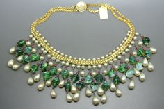 Vintage French 50s Green Molded Poured Glass Tassel Dangle Choker Necklace | eBay