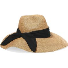 Eugenia Kim Cassidy silk chiffon-trimmed straw sunhat ($395) ❤ liked on Polyvore featuring accessories, hats, brown, straw sunhat, brown hat, beach hat, straw sun hat and eugenia kim