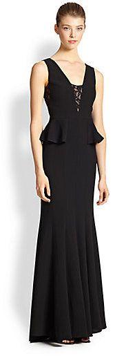 c9a2c1b5508ed BCBGMAXAZRIA Lace-Insert Peplum Gown