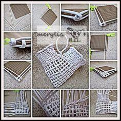 Idea: Portarecibos, cartas o para poner flores Recycled Paper Crafts, Bamboo Crafts, Diy And Crafts, Newspaper Basket, Newspaper Crafts, Paper Weaving, Weaving Art, Atelier Creation, Making Paper Mache