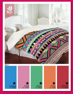 Bright Bedding... Green, Pink, Blue and Orange. Found this, and WANT it for my dorm next year!