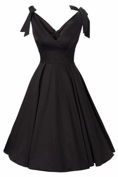50s Tie Me Up dress in black satin.