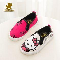 Musim gugur baru anak kartun kanvas shoes musim semi laki-laki perempuan hello kitty flats sneakers 4 desainer anak-anak bernapas shoes 21-36