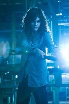Rachel using her powers of electricity.