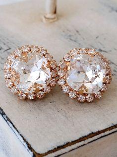 Rose gold white clear crystal stud earrings by EldorTinaJewelry