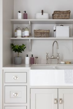 The artisan shelves in this utility room helps to keep laundry, baskets and other items neat, tidy and out of reach from little ones. #humphreymunson #humphreymunsonblog Small Utility Room, Utility Room Storage, Utility Room Designs, Utility Shelves, Mudroom Laundry Room, Laundry Room Design, Laundry Baskets, Pantry Design, Kitchen Design