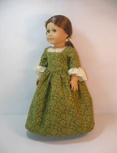 Colonial Dress for Felicity in olive green by terristouch on Etsy, $34.00