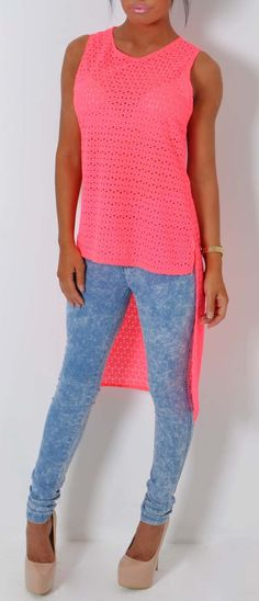 Pink Boutique Sumoda neon coral #crochet effect crop hem #top http://www.pinkboutique.co.uk/new-in/sumoda-neon-coral-crochet-effect-drop-hem-top.html #pinkboutique