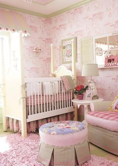 Pink and Green - Gorgeous pink-and-green toile wallpaper sets the tone for this whimsical baby nursery. The colors and patterns have enough interest to outlast babyhood and grow along with the fortunate young girl who grows up in this space. Diy Nursery Decor, Nursery Design, Baby Room Decor, Nursery Themes, Nursery Room, Girl Nursery, Girl Room, Nursery Ideas, Princess Nursery