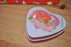 SHABBY CHIC pink love heart enamel tin SEWING PINS retro floral rose tin sewing available at stores.ebay.co.uk/bellsvintageboutique