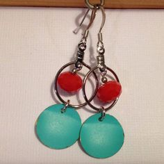 Glass Hoop and Aqua Metal Circle Beaded Earrings by maybirdjewelry, $18.00