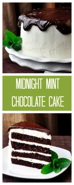 Midnight Mint Chocolate Cake - the perfect combination of dark chocolate cake and creamy mint buttercream frosting.