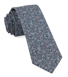 Blue Floral Groomsman Tie - BLHDN