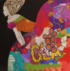AQUI ESTOY III collage y acrilico sobre lienzo