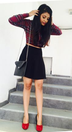 Plaid's the way to go! urban chic, skater skirt and classy plaids with color blocking pumps