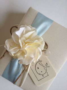 Baby Photo Album - Handstamped Nautical Baby Whale  by CoutureLife, $38.99