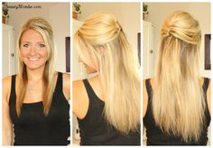 bridal hair comb with hair down straight - Google Search
