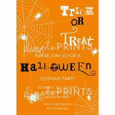Trick or Treat Halloween Printable Invite - Dimple Prints Shop