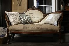 Sofa...I have an old sofa like this (an original from Macy's) and debating on whether or not to recover it...if so, I love this stamped burlap as an inspiration or maybe velvet