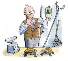 There's no end to what you can invent for your tortoise enclosure if you put your mind to it lol. Roald Dahl Esio Trot, Roald Dahl Books, Roald Dahl Activities, Art Activities, Quentin Blake Illustrations, Tony Ross, Line Illustration, Character Drawing, Childrens Books