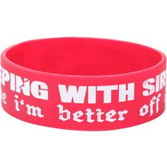 Sleeping With Sirens Better Off Dead Rubber Bracelet Hot Topic ($4.90) ❤ liked on Polyvore featuring jewelry, bracelets, rubber jewelry, rubber bangles, red bangles and red jewelry