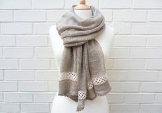 irish linen & lace scarf by @knitfrekkles on etsy