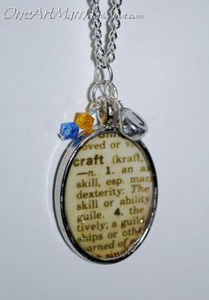 Dictionary Page Pendants